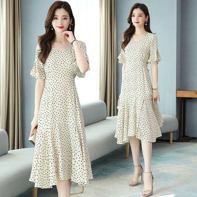实拍波点连衣裙新款夏收腰显瘦气质长裙雪纺波点裙长款裙子女