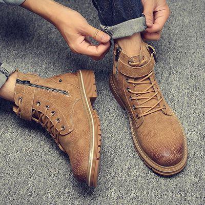 马丁靴男真皮英伦风侧拉链男靴子男士高帮鞋子男皮靴百搭潮短靴