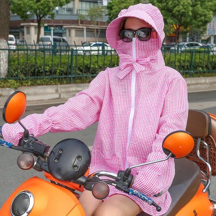 2021女士夏季电动车防晒衣短款遮阳透气