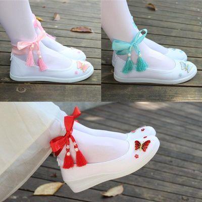 古风汉服鞋子女搭配古装学生舞蹈白色帆布刺绣花平底坡跟绑带cos