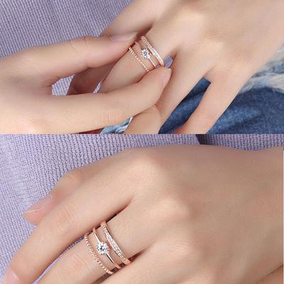 银戒指女韩版个性线条镶钻简约指环双层镶钻戒指时尚开口女戒指