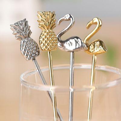 新品人气金色网红创意不锈钢咖啡可爱甜品搅拌金属长短柄小勺叉