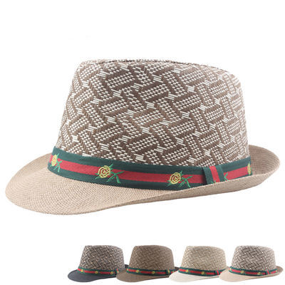 亲子草帽老人帽男爷爷夏天爸爸爵士礼帽老头户外休闲透气遮阳凉帽