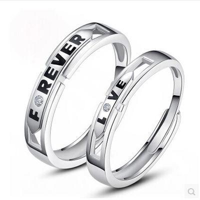 戒指女戒指男戒指情侣爱系统之对戒指银时尚韩版戒指男