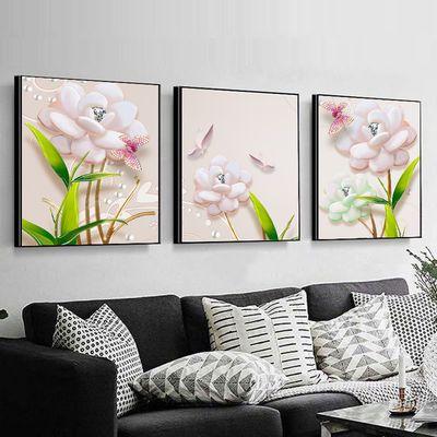 客厅装饰画餐厅壁画现代简约挂画玄关卧室三联无框画沙发背景墙画