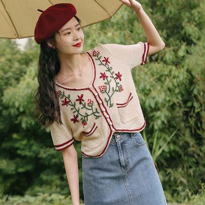 实拍实价 夏季复古钩花设计感女小众短袖高腰针织开衫薄款chic