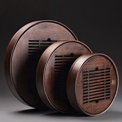 新品小型茶盘家用储水式托盘移动茶具茶台简易竹制圆形蓄水茶海干