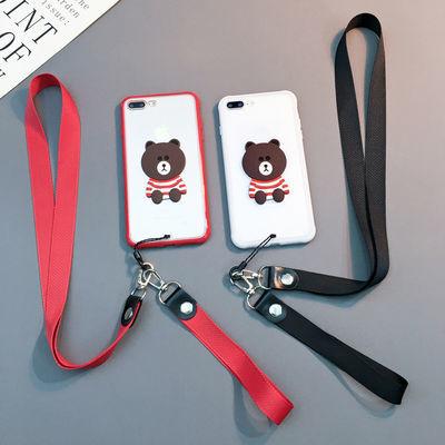 苹果11手机壳7plus挂绳8p卡通6splus女款xsmax小熊xr简约11promax