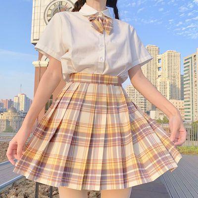 2020现货多色【jk两件套】凝茶新款jk制服韩版学生格子裙女百褶裙