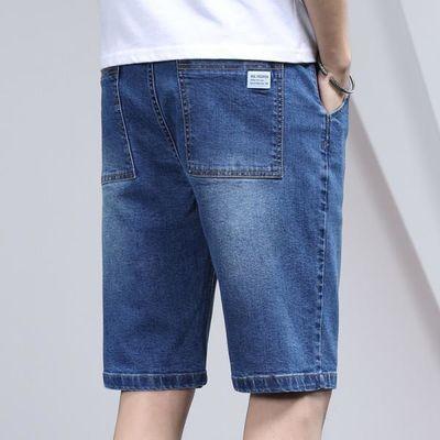薄五分裤浅蓝色牛仔短裤男学生休闲中裤直筒松紧腰抽绳马裤沙滩裤