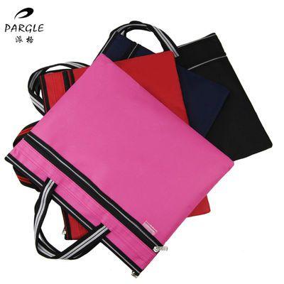 A4球纹商务文件袋双层足球纹拉链袋男女士公文包手提帆布资料袋