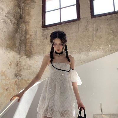 ishui is shuiii 一只甜崽法式不规则连衣裙小众设计感吊带仙女裙