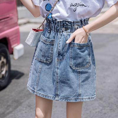 松紧腰牛仔裙女夏高腰2020新款韩版a字大码胖mm显瘦包臀半身短裙