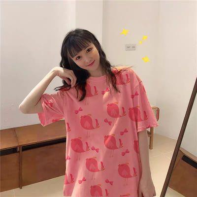 【纯棉100%】港风新款网红半袖宽松韩版女学生短袖BF风T恤上衣ing
