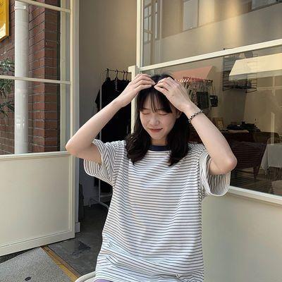 奶兔星球-自制日系宽松条纹短袖t恤女夏季2020年新款清新百搭上衣