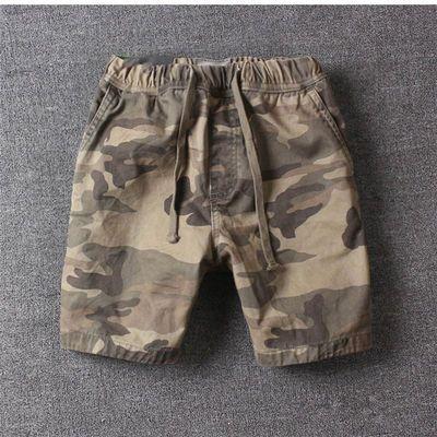 美式经典男士慢跑短裤纯棉宽松三分裤运动跑步迷彩多色收腰抽绳裤