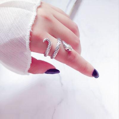 日韩925银泰银戒指女开口可调节复古做旧小蛇学生戒指简约女指环