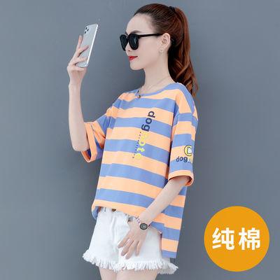 条纹短袖T恤女2020年夏季新款潮半袖上衣网红ins超火宽松韩版女装