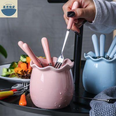 创意可爱不锈钢水果叉套装 家用陶瓷甜品叉水果签小叉子点心叉