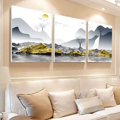 客厅装饰画餐厅壁画卧室现代简约挂画玄关三联无框画沙发背景墙画