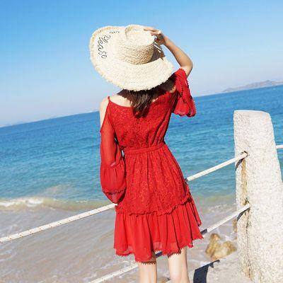连衣裙夏蕾丝沙滩裙吊带裙海边度假裙性感短裙女长袖连衣裙夏胖M
