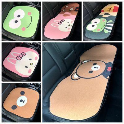 。四季通用汽车单片坐垫女可爱车垫卡通前排后排长垫棉麻前座后座
