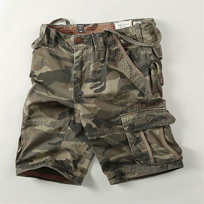 休闲迷彩短裤男夏季多口袋工装沙滩裤纯棉五分裤运动户外军迷裤子