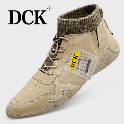 DCK春季男鞋2020新款真皮鞋子男韩版高帮短靴子男士马丁靴高帮鞋