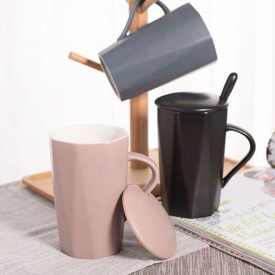 北欧陶瓷杯子女大容量水杯马克杯简约情侣杯带盖勺生日礼品咖啡杯