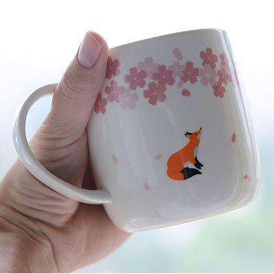 简约中国樱花马克杯女学生韩版水杯子可爱情侣杯带盖勺牛奶咖啡杯