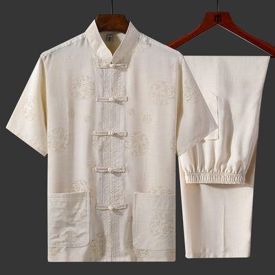 唐装男短袖套装夏季宽松大码中国风男装中老年人爷爷衣服爸爸装夏