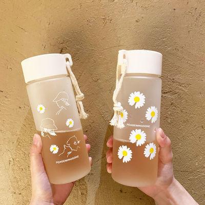 网红小雏菊磨砂水杯可爱便携手韩版塑料原宿女学生杯子随手杯