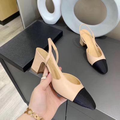 小香拼色凉鞋女仙女风2020夏季新款网红ins真皮包头后空粗跟单鞋