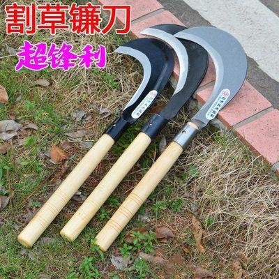 进口锰钢镰刀除草工具割草刀户外农用农具玉米收割割草长柄大镰刀