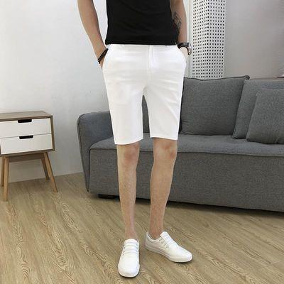 夏季西装短裤男白色修身五分裤休闲七分裤子男韩版潮流百搭5分裤
