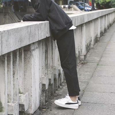 黑色裤子男韩版男装休闲裤潮流宽松直筒裤bf男生九分裤港风小西裤