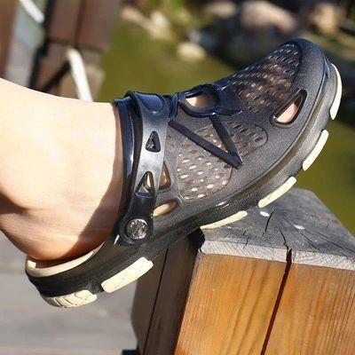夏季半拖鞋子男厚底防滑洞洞鞋休闲凉拖鞋透气包头沙滩鞋男士凉鞋
