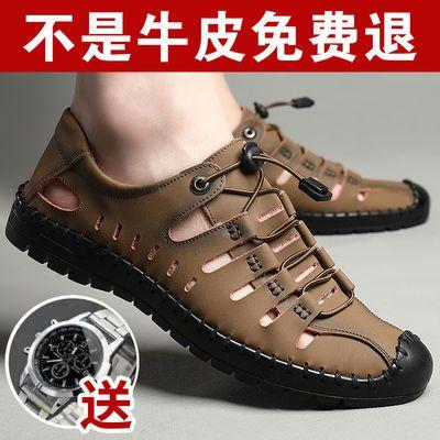 真皮牛皮夏季凉鞋男士中老年透气凉皮鞋休闲爸爸鞋软底镂空洞洞鞋