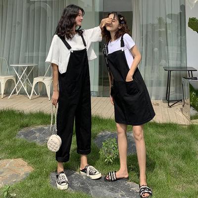 新款韩版黑色黄色背带裤学院风时尚少女减龄洋气背带裙背闺蜜装女
