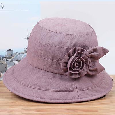 帽子女夏天中老年遮阳帽妈妈帽女士盆帽春秋薄款防晒透气老人凉帽