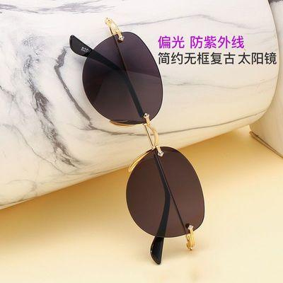 太阳镜男女墨镜时尚开车蛤蟆镜金属无框偏光复古防紫外线太阳眼镜