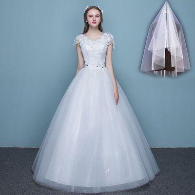 婚纱礼服蕾丝双肩V领显瘦公主大码齐地婚纱2020新款新娘结婚礼服