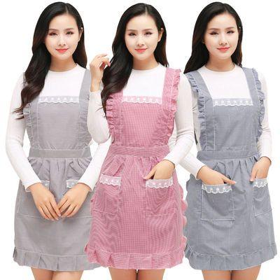 桃心印花防水防油围裙时尚可爱男女罩衣修身工作服韩版无袖围裙