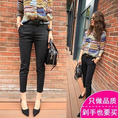 【同款腰带】黑色西裤女九分裤夏季修身显瘦薄款休闲西装小脚裤