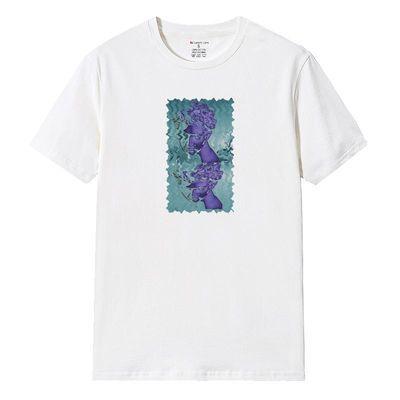 2020夏季新款男女同款人物艺术头像印花T恤打底衫