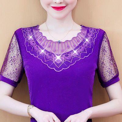8226/蕾丝衫女士短袖网纱上衣2020夏装新款宽松显瘦洋气打底衫绣花小衫