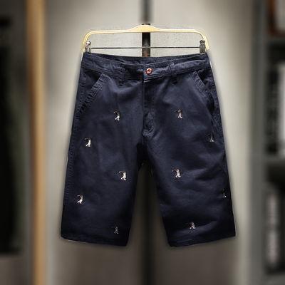 夏季纯棉绣花五分裤休闲短裤男士时尚刺绣中裤马裤沙滩裤青年男裤