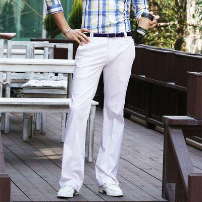白色微喇叭西裤男商务修身垂感阔脚西装裤时尚百搭免烫休闲男裤