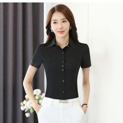 白衬衫女短袖职业装修身夏装韩版正装显瘦百搭黑衬衣OL工作服