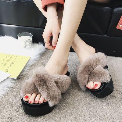 毛毛拖鞋外穿女厚底坡跟交叉高跟时尚拖2020新款春夏季真兔毛松糕